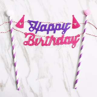 Happy Birthday Purple Pink with Purple Striped Straw Cake Topper