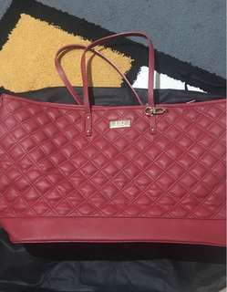 Bcbg Paris Never Use Textured Red Quilted PU leather Tote with tassel