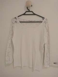 White top with lacy sleeves