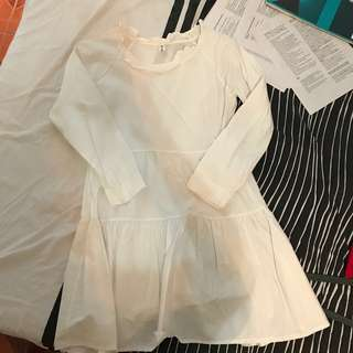 WHITE BABYDOLL DRESS FREESIZE FITS S-L