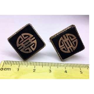 珍藏 舊工 手工製 舊銀 純銀 袖口鈕一對 Made in HK