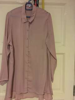 Long Sleeved Blouse in Dull Pink