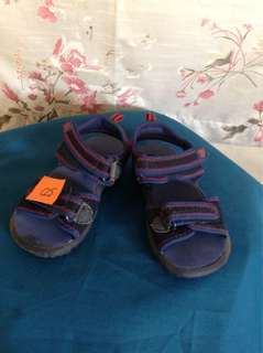 Old Navy blue sandals w/ red thread on straps; velcro snap on; size 6-1/2