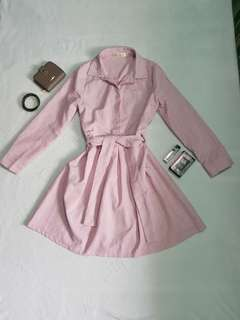 Pink button down tie knot dress
