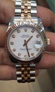 rolex boysize rosegold dial diamond 2014 complete box sertifikat