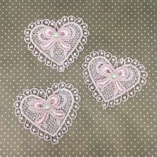 3pcs Pink Heart Applique