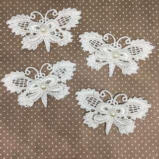 4pcs White Butterfly Applique