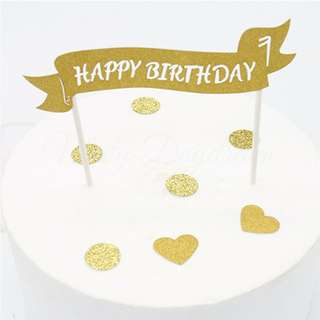 Gold Glitters Small Happy Birthday Cutout on banner Cake Topper