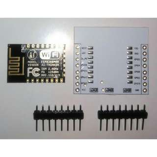 ESP-12E ESP8266 WIFI Transceiver Wireless Module + Breadboard Friendly Backboard + 2.54mm Pitch Male Headers