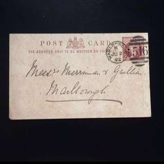 Vintage / Old Postcard - United Kingdom / UK / Britain 19th Century Queen Victoria Postcard , Marlborough dated 1892 (rare)