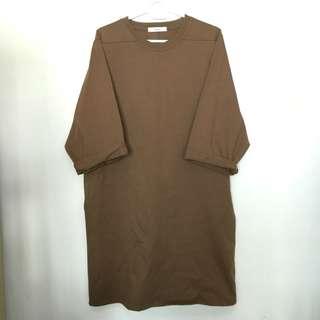 全新 韓國 啡色 棕色 長身裙 連身裙 中袖