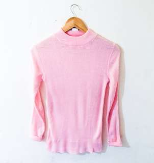 Knitted Pink Pull Over (Size: S-M)