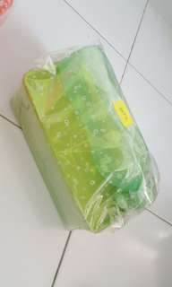 TUPPERWARE lime green eco bottle 500ml with snowflake double square round 1.3L