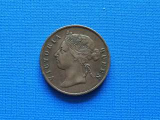Strait settlement Queen Victoria one cent coin 1884 XF