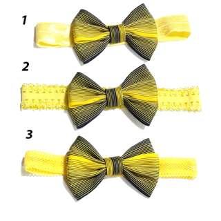 Handmade Yellow Navy Blue Stripe Line Hair Bow Elastic Headband
