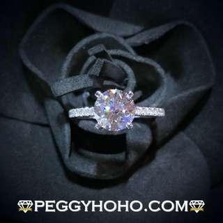 【Peggyhoho】全新18K白金單粒1卡50份配微鑲小鑽共1卡65份鑽石戒指 | 1卡半GIA證書 | H色 3EX N HK13.5號