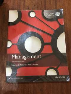 Management by stephen robbins, pearson. 13th edition
