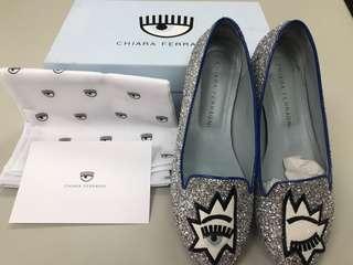 🚚 Chiara Ferragni  藍邊銀色亮片娃娃鞋/樂福鞋