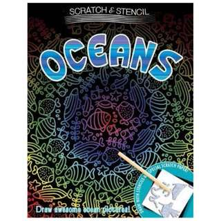 😀😀(Brand New) Scratch & Stencil Oceans   By: Running Press Paperback