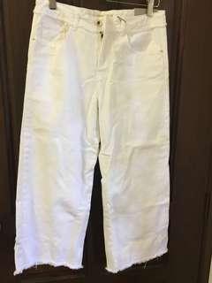 Zara Girls -White Culottes with Frayed Hems