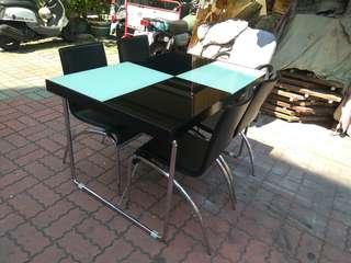 台南{舊箱子二手傢俱}1桌4椅餐桌組125*80*75限送台南市區