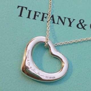 真品TIFFANY&CO 經典Open heart心型項鍊S號、附原廠盒子緞帶包裝