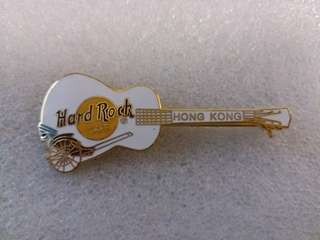 Hard Rock Cafe Pins ~ HONG KONG HOT & RARE 2000 WHITE GIBSON GUITAR WITH RICKSHAW!