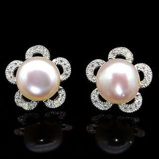 EARRINGS / SUBANG / ANTING STUDS WHITE PEARL PLATED WHITE GOLD FOR MOTHER GIFT
