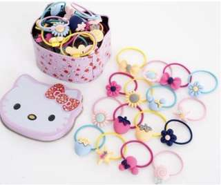 Hair tie / rubber bands comes with Hello Kitty storage container (40 pieces)