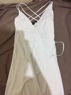 Elegant wrap around white dress