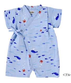 HOT BISCUITS mikihouse japanese baby kimono blue with sharks size S onesie overall