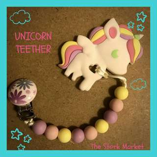 Baby Teether and Pacifier Clip (Unicorn)
