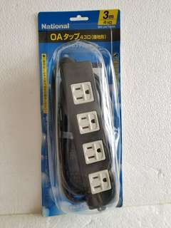 National 4 ways oulet w/3m cable (絕钣) Made in Japan  ( 雙層厚膠〉 Special price: $360