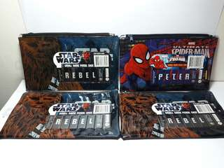 4 x Star Wars and spiderman Soft Pencil case