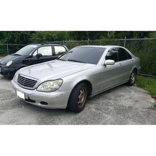 新竹中古車 2001年 3.2 銀色S-320(S-350) 實跑 14萬公里 該修的都修了 輪胎都換新的 黑色內裝 定速 電動坐椅 恒溫 倒車顯影