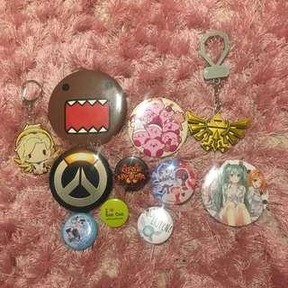 Cute keychain badge pin bundle