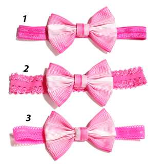 Handmade Virtual Pink White Stripe Line Hair Bow Elastic Headband
