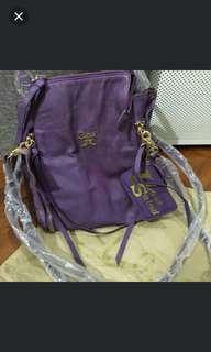 Salad Purple Color Leather Handbag 100%New