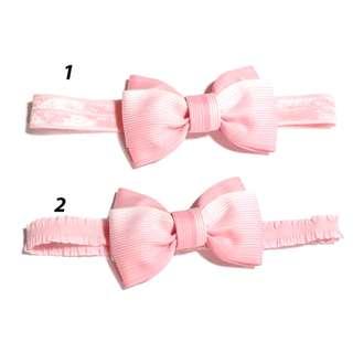 Handmade Light Pink White Stripe Line Hair Bow Elastic Headband