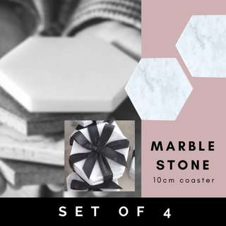 [Set of 4] Natural Marble Tile Coaster/ Pure/ Real/ Stone/ scandinavian/ tray/ hexagon