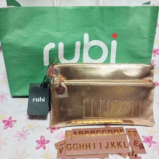 Rubi by Cotton On Personalized Rose Gold Dual Zip Pouch (With Paper Bag)