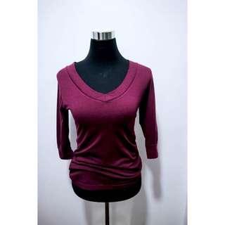 Red Violet V-Neck Blouse