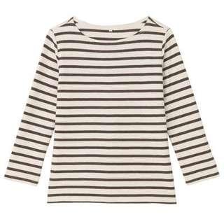 Muji textured stripe Top size S cream/brown