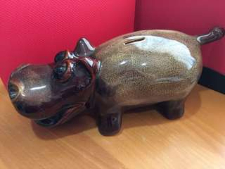 Large Super-glazed Rhino coin bank