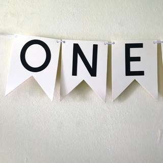 One handmade cream with black word banner / Bunting