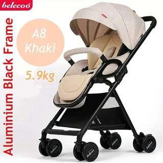 Belecoo A8 5.9kg Near Full Recline Stroller / Pram - Khaki