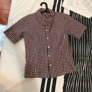 CHECKERED GINGHAM POLO TOP FITS S-M