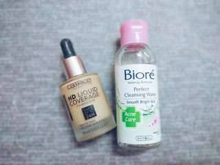 Catrice HD Liquid Coverage Foundation & Bioré Makeup Remover