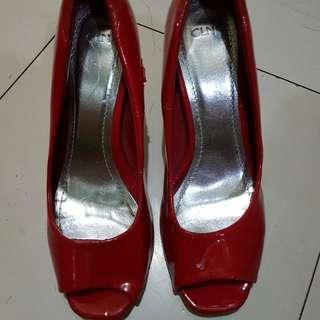 CLN red peeptoe heels