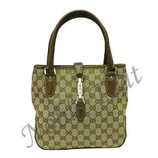 古馳 Gucci - GG 杏 / 啡色 帆布手提袋, 啡色真皮手挽/綑邊 , 意大利製造.